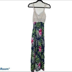 Red Queen Blue Palm Floral Maxi Dress Size L/XL